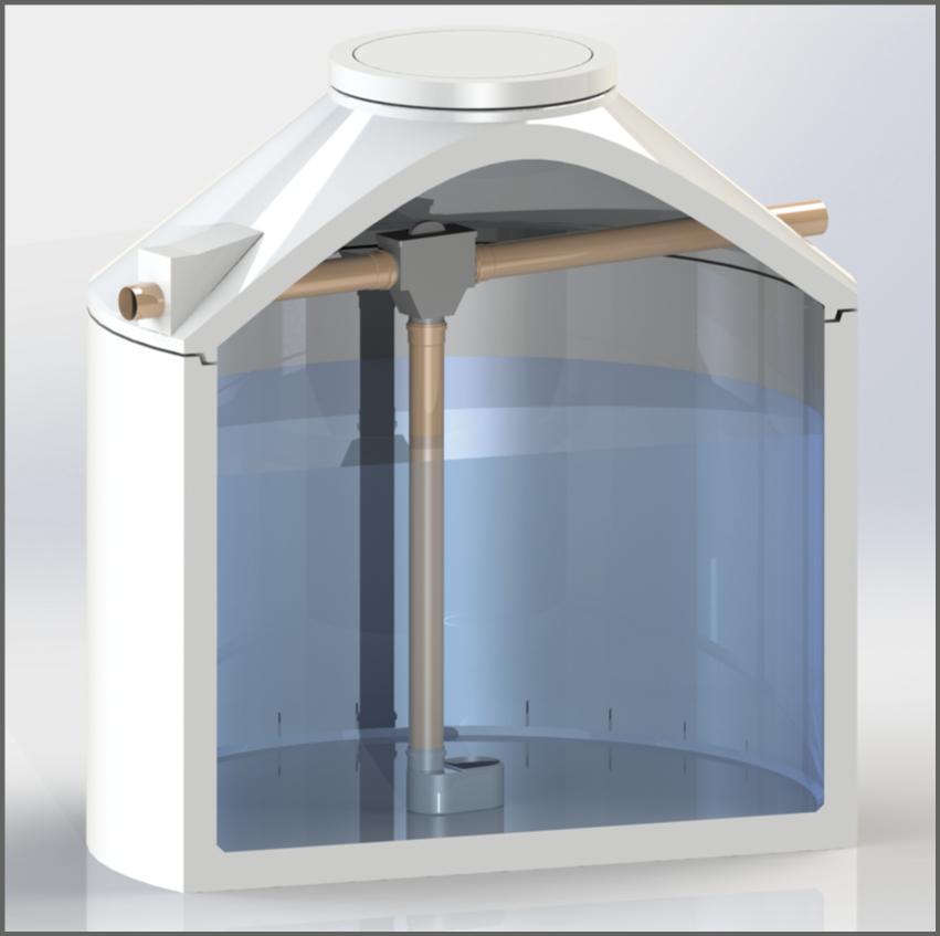 Regenwasserzisterne mit modifiziertem Siphonfilter in schwarz - Regenwasser nutzen